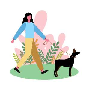 woman with dog walking